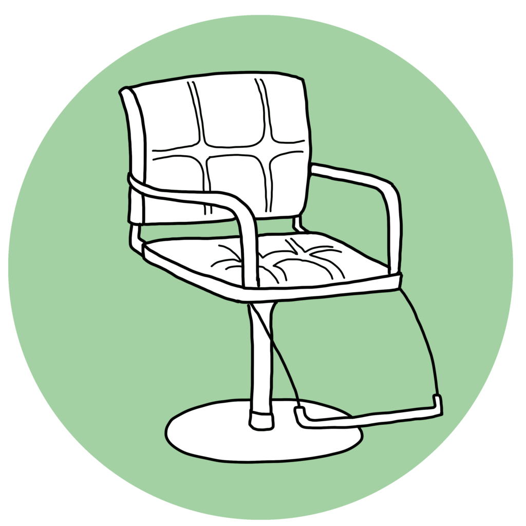 An illustration of a hair salon chair in white and black ink, against a pale green circle background.