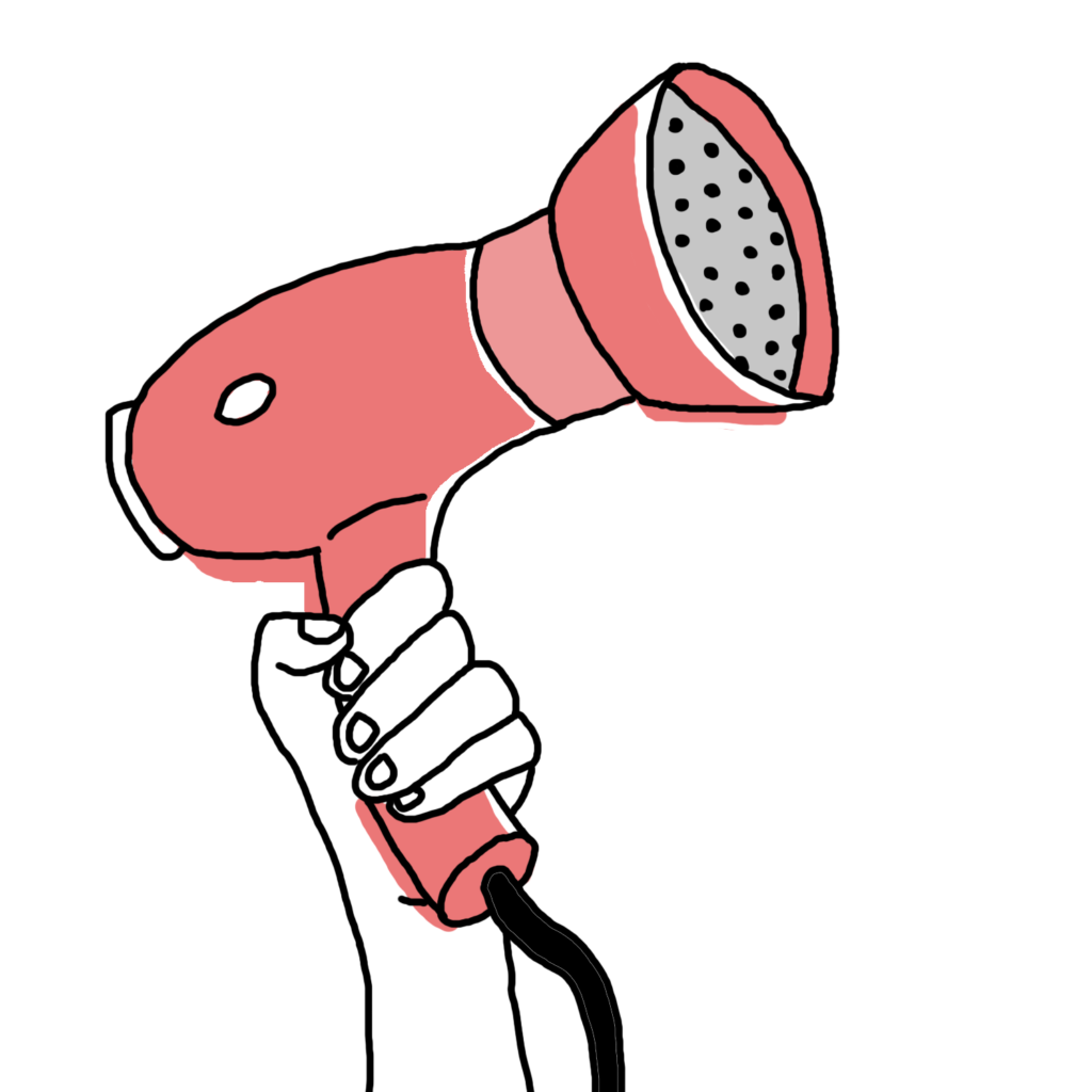 An illustration of a hand, transparent and outlined in black ink, holding a pale red hairdryer like a megaphone. Solidarity!